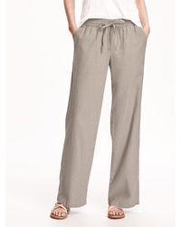 Old Navy Mid-rise Linen-blend Pants - Natural