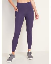 Old Navy High-waisted Elevate Powersoft 7/8-length Side-pocket Leggings - Purple