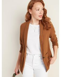 Old Navy Linen-blend Blazer For Women - Brown
