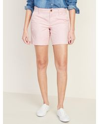 Old Navy Mid-rise Everyday Embroidered-daisy Shorts - Pink