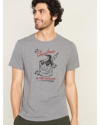 Old Navy Christmas-graphic Soft-washed Tee For Men - Gray