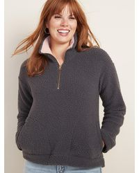 Old Navy - Plush Sherpa 1/4-zip Pullover For Women - Lyst