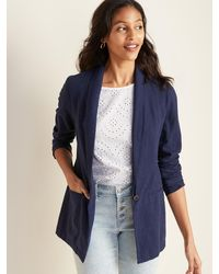 Old Navy Linen-blend Blazer For Women - Blue