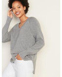 Old Navy Rib-knit V-neck Sweater For Women - Gray