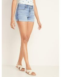 Old Navy Cuffed Jean Shorts For Women - 3-inch Inseam - Blue