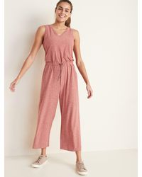Old Navy Breathe On V-neck Wide-leg Jumpsuit - Pink