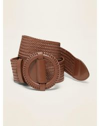 Old Navy Wide Braided Faux-leather Belt - Brown