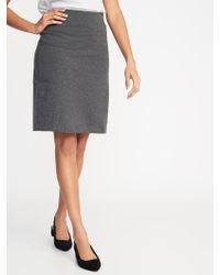 8c91783ea Lyst - Express Striped Stretch Knit Midi Pencil Skirt in Gray
