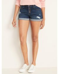 Old Navy Distressed Button-fly Boyfriend Jean Shorts For Women - 3-inch Inseam - Blue