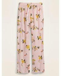 Old Navy Printed Poplin Pajama Pants For Women - Pink
