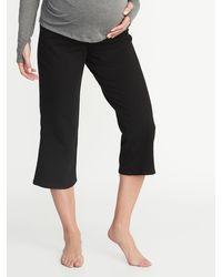 Old Navy Maternity Rollover-waist Wide-leg Yoga Crops - Black