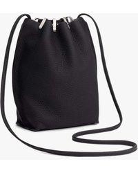 Rag & Bone Dayton Drawstring Bag - Leather Medium Bucket Bag - Black