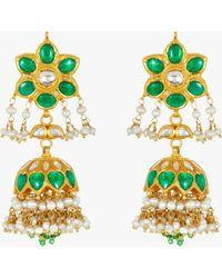 Amrapali - Emerald And Pearl Chandelier Earrings - Lyst