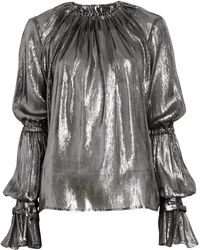 Hensely - Metallic Shirred Flounce Sleeve Top - Lyst