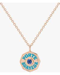 Marlo Laz Mini Porte Bonheur Sapphire Coin Pendant Necklace - Multicolor
