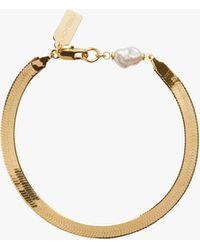 Lady Grey Pearl Herringbone Bracelet - Metallic