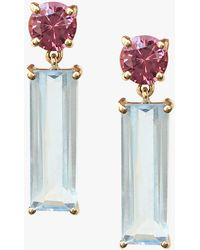Yi Collection - Garnet And Topaz Bar Earrings - Lyst
