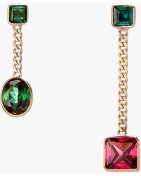 Objet-a Tourmaline Asymmetrical Curb Chain Drop Earrings - Green
