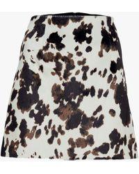 ALEXACHUNG Women's Faux Hide Print Mini Skirt - Black