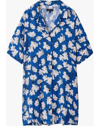 Rag & Bone Reed Mini Shirt Dress Silk Blend Dress - Blue