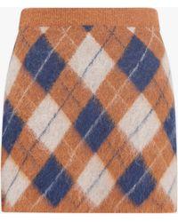ALEXACHUNG Women's Brushed Argyle Skirt - Blue