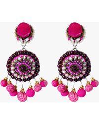 Ranjana Khan Pom Pom Clip-on Earrings - Pink