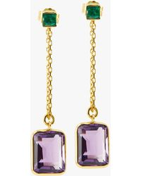 Yi Collection - Emerald And Amethyst Chain Earrings - Lyst