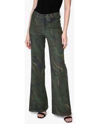 Nicole Miller Women's Camo Swirl Wide-leg Jeans - Green