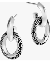 John Hardy Classic Chain Knife Edge Door Knocker Earrings - Metallic