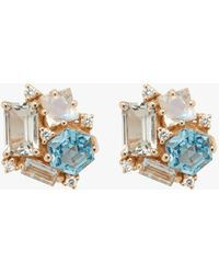 KALAN by Suzanne Kalan - Topaz And Rainbow Moonstone Stud Earrings - Lyst