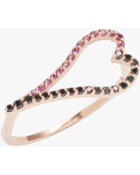 Kwiat Gold, Black Diamond & Ruby Heart Ring - Pink