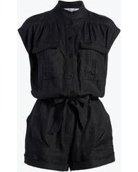 FRAME Belted Romper - Black