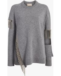 Christopher Kane Women's Cut Out Cup Chain Sweater - Gray