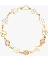 Pippa Small Burmese Lotus Open Wire Chain Bracelet - Metallic