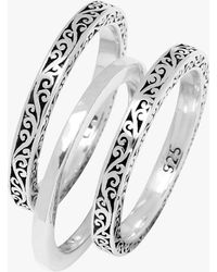 Lois Hill Silver 3 Stack Rings - Metallic