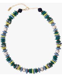 Akola Joceyln Beaded Statement Necklace - Blue