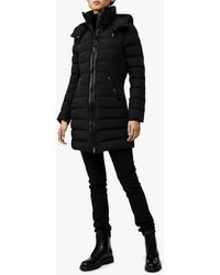 Mackage Farren Stretch Lightweight Down Coat With Removable Hood In Black - Women