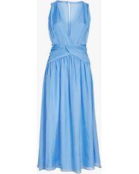 Divine Héritage Women's Sleeveless V Neck Midi Dress - Blue