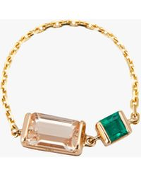 Yi Collection - Morganite & Emerald Chain Ring - Lyst
