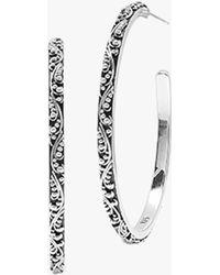 Lois Hill Classic Medium Granulated Hoop Earrings - Metallic