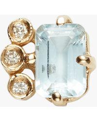 Jacquie Aiche - Diamond Aquamarine Baguette Stud - Lyst