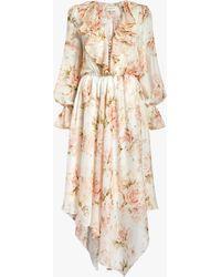 Divine Héritage Women's V Neck Asymmetrical Midi Dress - Multicolor