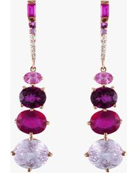 Eden Presley Kunzite Ruby Grape Garnet Drop Earrings - Multicolor