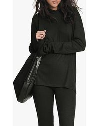 Rag & Bone The Knit Rib Hoodie Relaxed Fit Sweater - Black