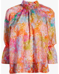 Cynthia Rowley Eden Sunset Marble Cotton Blouse - Red