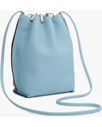 Rag & Bone Dayton Drawstring Bag - Leather Medium Bucket Bag - Blue