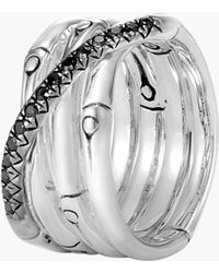 John Hardy - Bamboo Coiled Ring With Black Sapphire - Lyst