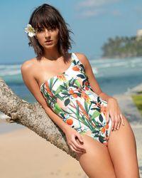VERANDAH Women's One-shoulder One-piece Swimsuit - Green