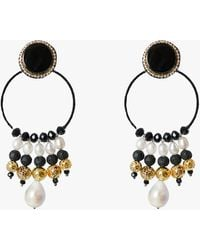 Ranjana Khan Gardenia Clip-on Earrings - Black