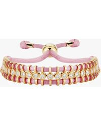 Jemma Wynne Cord Slider Pink Diamond Bracelet